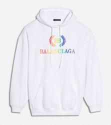 f6ad8c32abfd1 ... Balenciaga Rainbow Bb Embroidered Logo Hoodie In White Worn By Lil  Skies ...