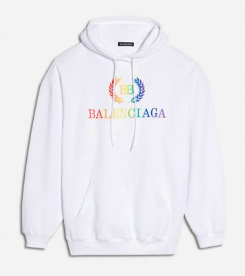 Balenciaga Rainbow Bb Embroidered Logo Hoodie In White Worn By Lil Skies