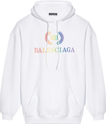 Balenciaga Rainbow Logo Hoodie White