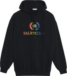 Balenciaga Rainbow Logo Print Hoodie
