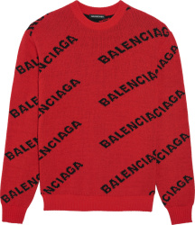 Balenciaga Red And Black Allover Logo Sweater