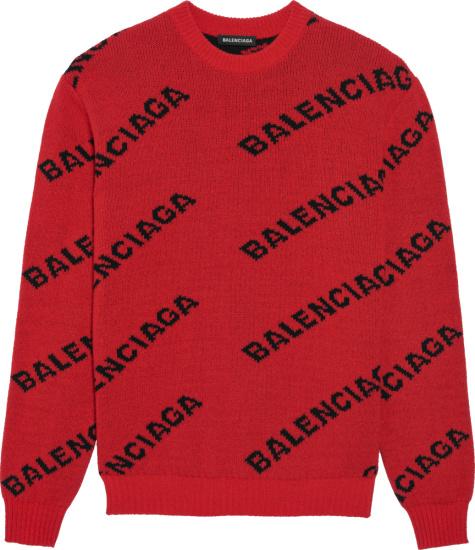 Balenciaga Red And Black Allover Logo Sweater