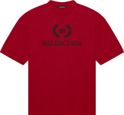 Balenciaga Red And Black Logo T Shirt