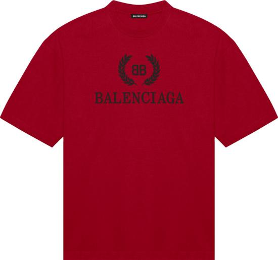 Balenciaga Red And Black Logo T Shirt