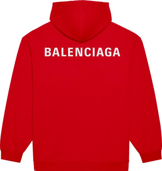 Balenciaga Red And White Logo Print Hoodie