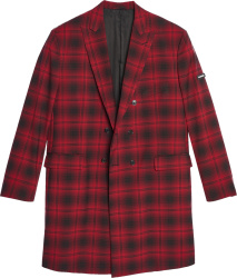 Balenciaga Red Black Plaid Double Breasted Oversized Coat