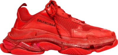 Balenciaga Red Clear Sole Triple S Sneakers