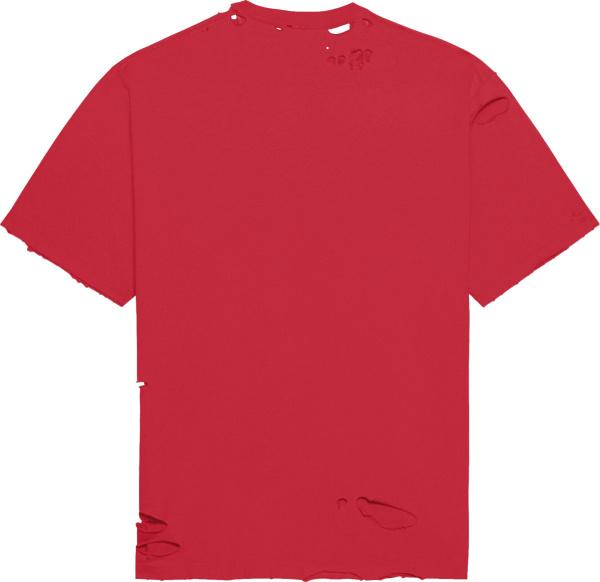 Balenciaga Red Destroyed Caps T Shirt