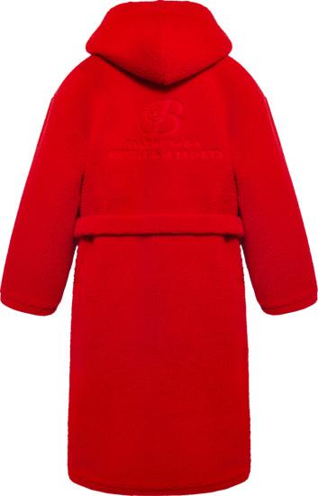 Balenciaga Red Hooded Bathrobe Coat