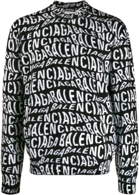 Balenciaga Wave Logo Jacquard Black Sweater