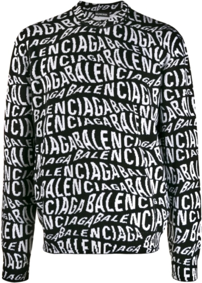 Balenciaga Wave Logo Jacquard Black Sweater