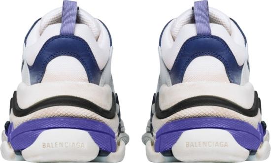 Balenciaga White And Blue Triple S Sneakers