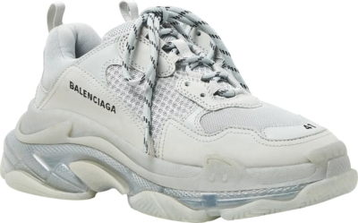 Balenciaga White And Clear Sole Triple S Sneakers