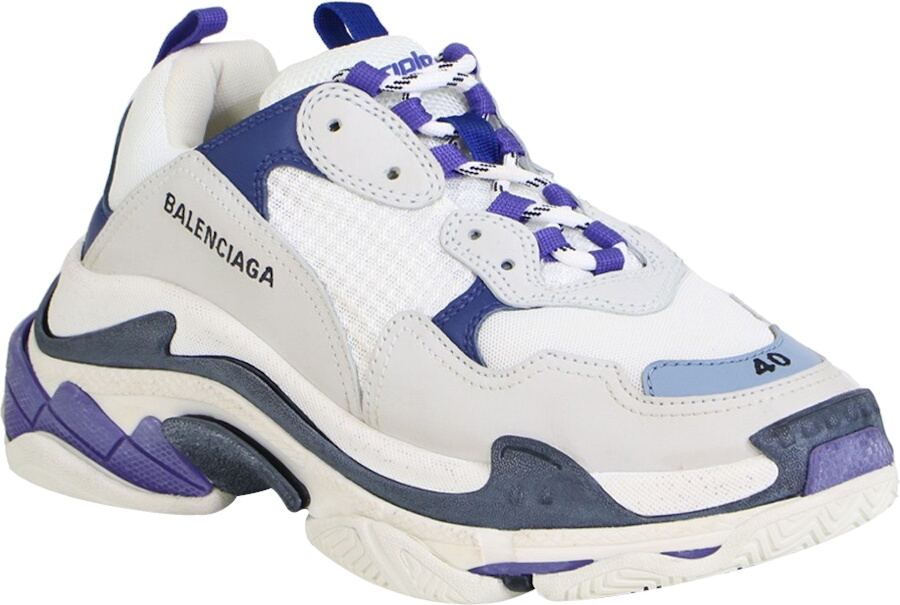 Balenciaga White And Navy Tripe S Sneakers 1