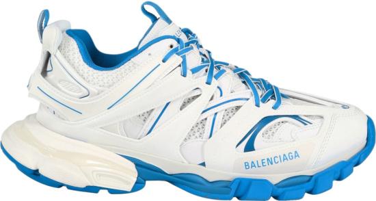 Balenciaga White And Neon Blue Track Sneakers