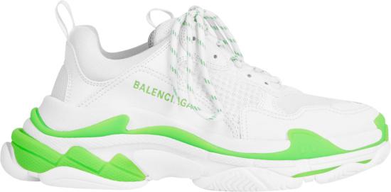 Balenciaga White And Neon Green Triple S Sneakers