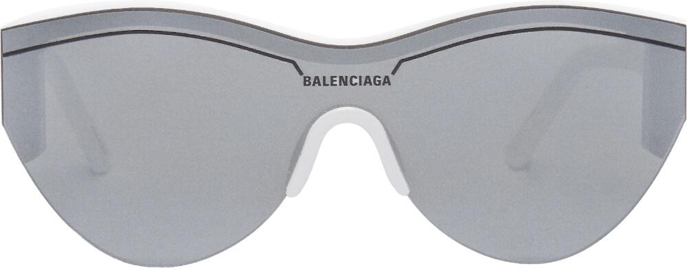 Balenciaga White And Silver Ski Cat Sunglasses