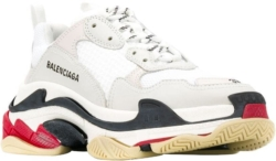 Balenciaga White Ivory Red And Black Triple S Sneakers