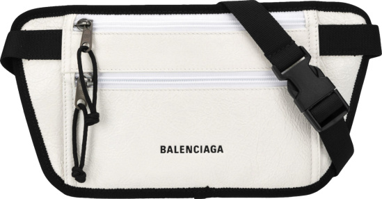 Balenciaga White Leather Flat Weekend Belt Bag