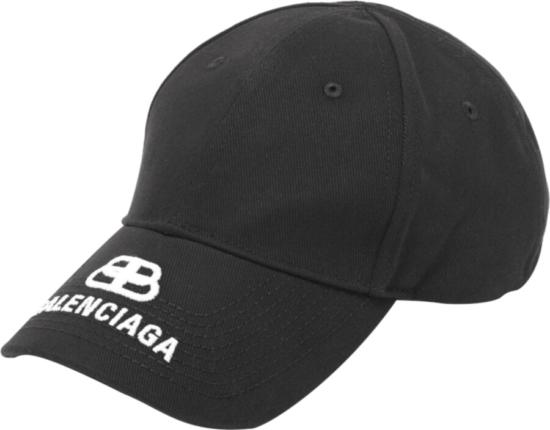 Balenciaga White Logo Embroidered Black Hat