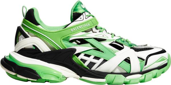 Balenciaga White Neon Green And Black Track 2 Sneakers