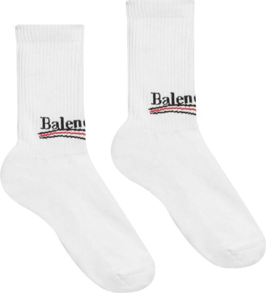 Balenciaga White Political Campaign Logo Socks