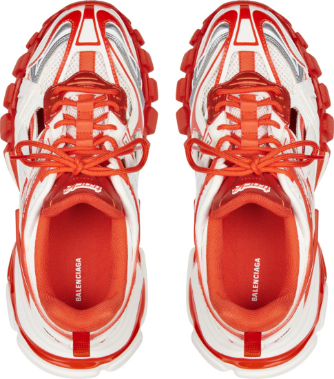 Balenciaga White Red And Grey Track 2 Sneakers