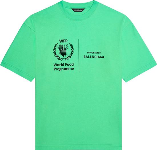 Balenciaga X World Food Programme Neon Green Logo T Shirt