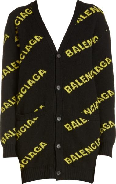 Balenciaga Yellow Logo Jacquard Black Cardigan