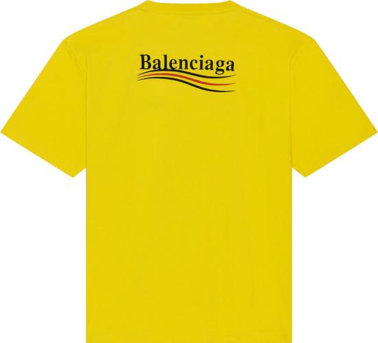 Balenciaga Yellow Political Campaign Logo T Shirt