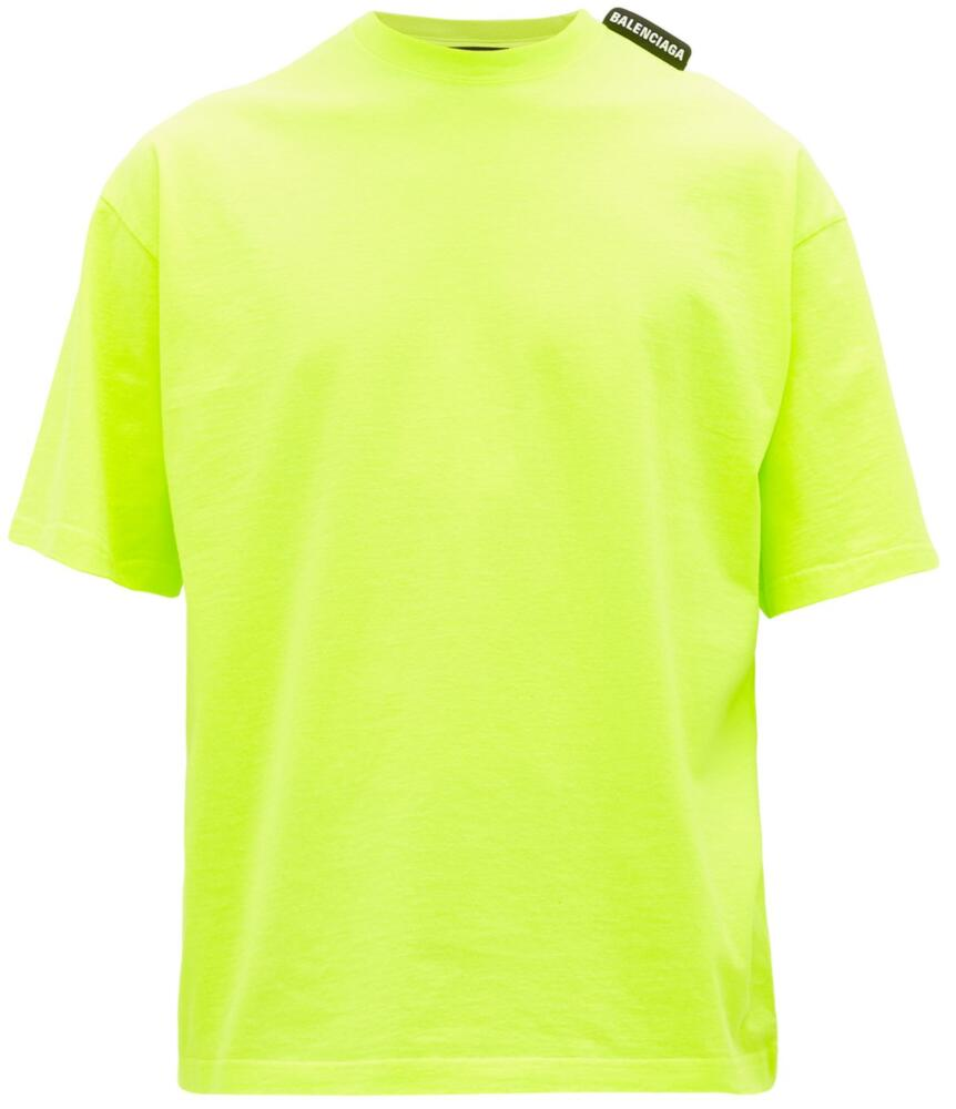 Balenciaga Yellow T Shirt With Black Shoulder Tag