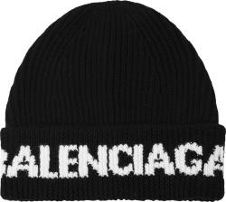 Balenicaga Black And White Wide Cuff Logo Jacquard Beanie
