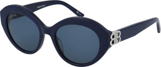 Balenicaga Blue Oval Sunglasses