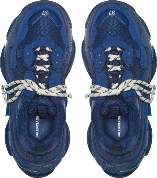 Balenicaga Navy And Clear Sole Triple S Sneakers