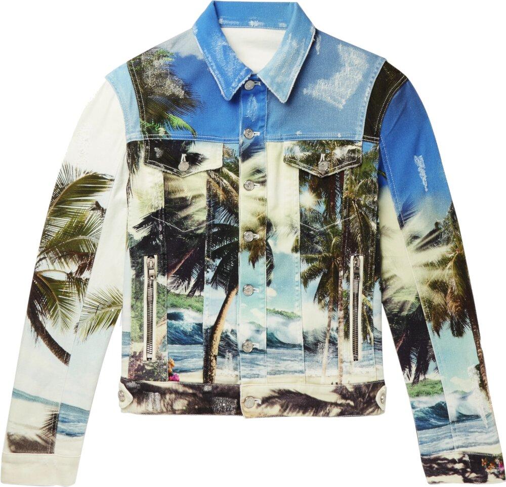 Balmain Allover Palm Tree Print Denim Jacket