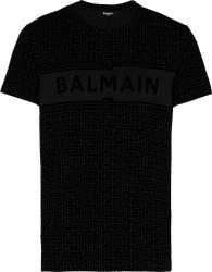 Balmain Black And Allover Velvet Monogram Logo T Shirt
