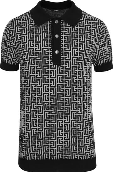 Balmain Black And White Allover Monogram Polo