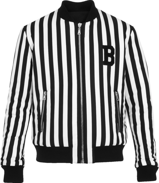 Balmain Black And White Striped Bomber Jacket