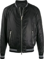 Balmain Black Logo Patch Bomber Jacket