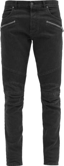 Balmain Black Ribbed Panel Zip Jeans