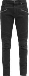 Balmain Black Ribbed Panel Zip Jeans
