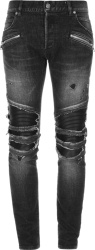 Faded Black & Leather Paneled Biker Jeans