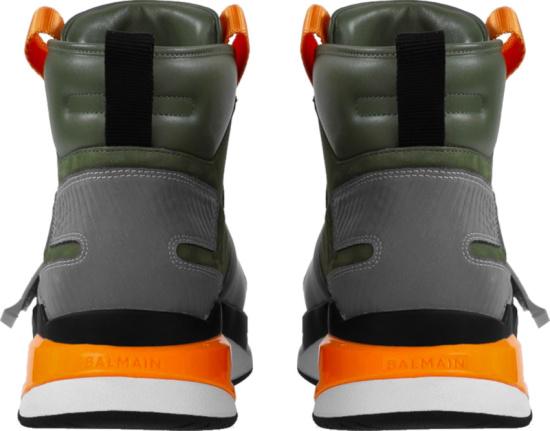 Balmain Green And Orange High Top Bball Sneakers