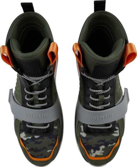 Balmain Green Orange And Camo High Top Strap Sneakers