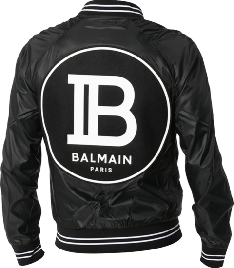 Balmain Logo Patch Black Bomber Jacket