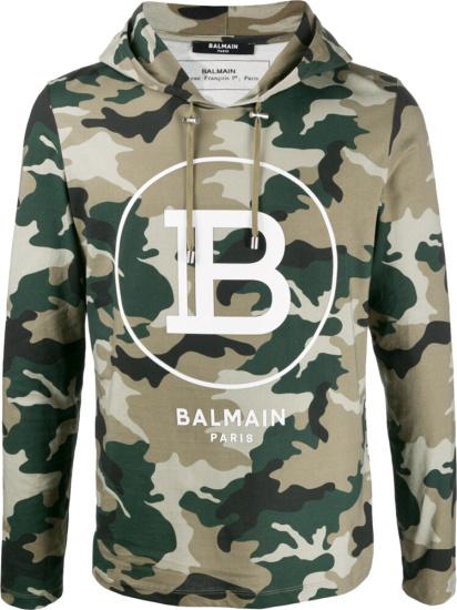 Balmain Logo Print Camo Hoodie