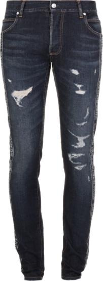 Balmain Logo Stripe Distressed Jeans