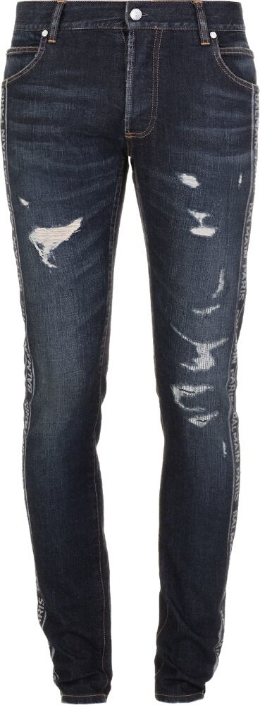 Balmain Logo Stripe Distressed Jeans