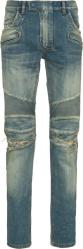 Balmain Mid Rise Distressed Biker Jeans