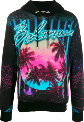 Balmain Neon Logo And Palm Tree Print Black Hoodie
